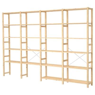 IVAR 4 sektioner/hylder, fyr, 344x30x226 cm
