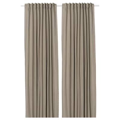 KALKFLY Lysdæmpende gardiner, 2 stk., mørkbeige, 145x250 cm
