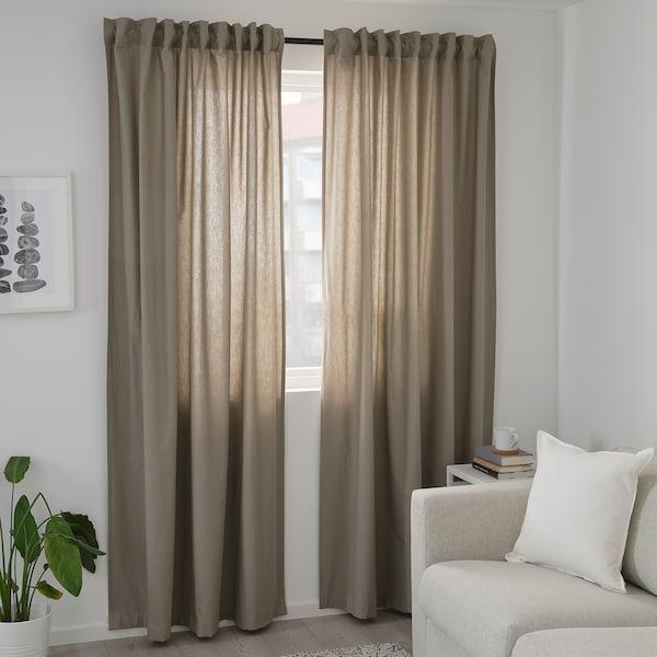 KALKFLY Lysdæmpende gardiner, 2 stk. mørkbeige 250 cm 145 cm 1.53 kg 3.63 m² 2 stk