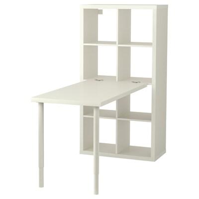 KALLAX Bordkombination, hvid, 77x147x159 cm
