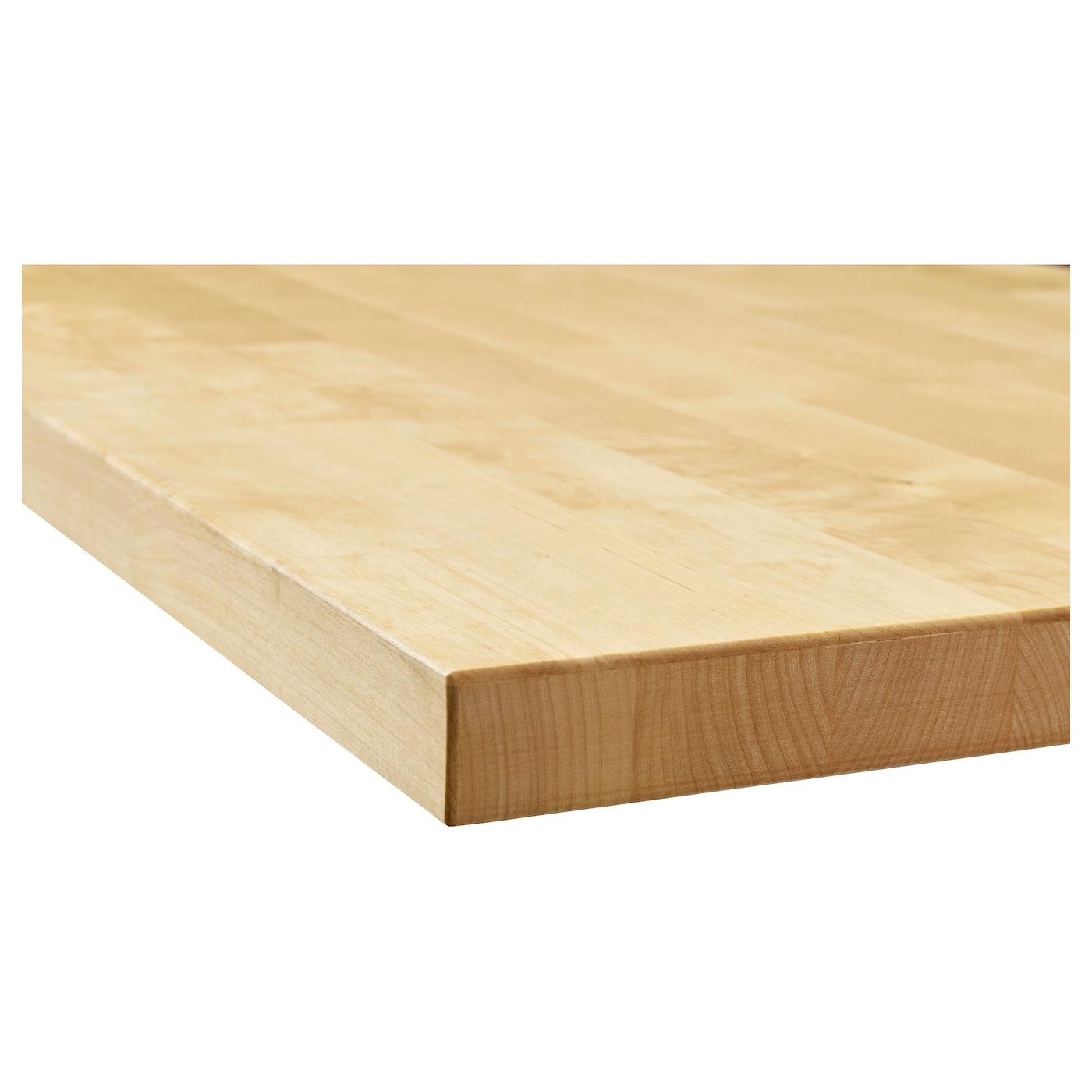 KARLBY Bordplade, birk/finer, 246x3.8 cm