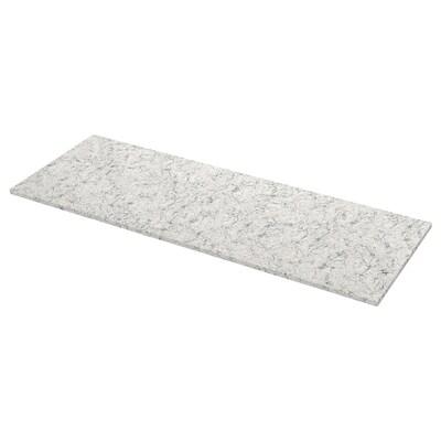 KASKER Bordplade efter mål, lys beige/grå marmormønstret/kvarts, 1 m²x3.0 cm