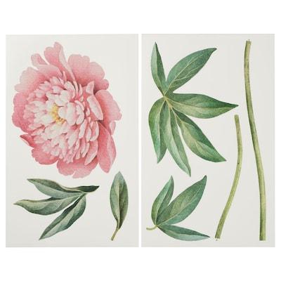KINNARED Dekoration, klistermærke, Pink pæon, 116 cm