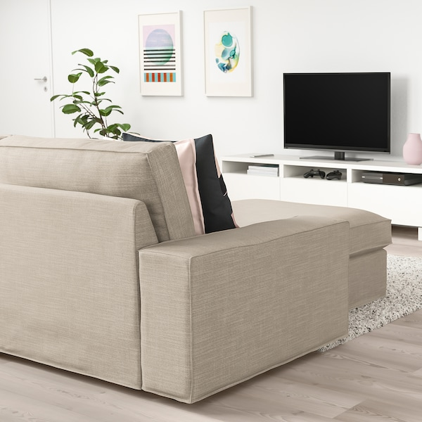 KIVIK 3-pers. sofa, med chaiselong/Hillared beige