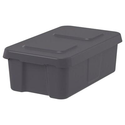 KLÄMTARE Boks med låg, indendørs/udensdørs, mørkegrå, 27x45x15 cm