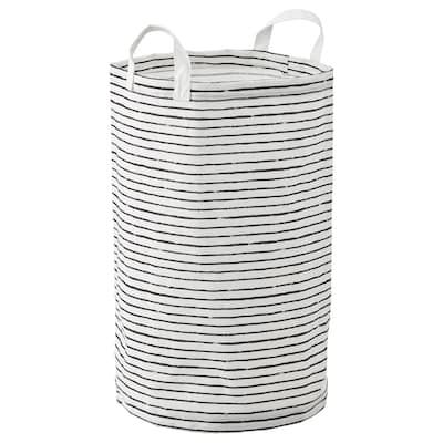 KLUNKA Vasketøjspose, hvid/sort, 60 l