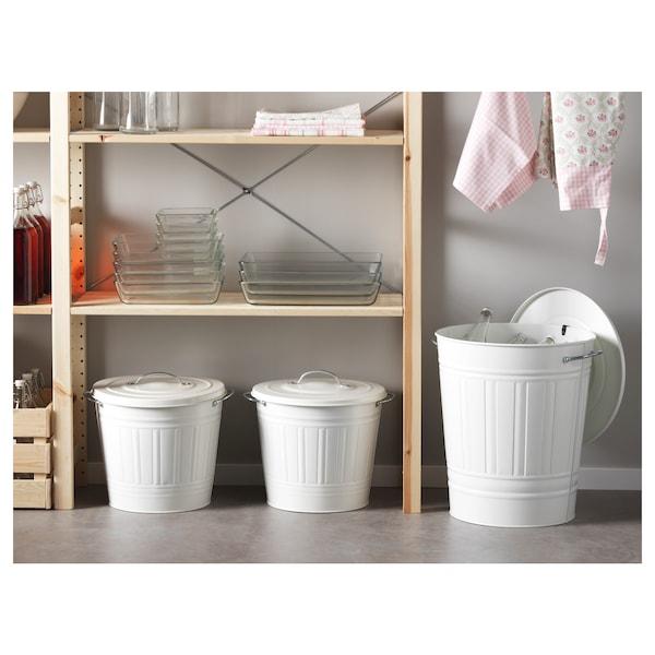 KNODD Spand med låg, hvid, 40 l