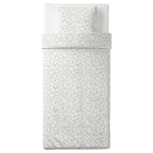 KOPPARRANKA Dynebetræk og 1 pudebetræk, hvid/mørkegrå, 140x200/60x70 cm