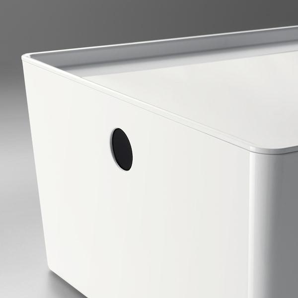 KUGGIS Boks med låg, hvid, 26x35x15 cm