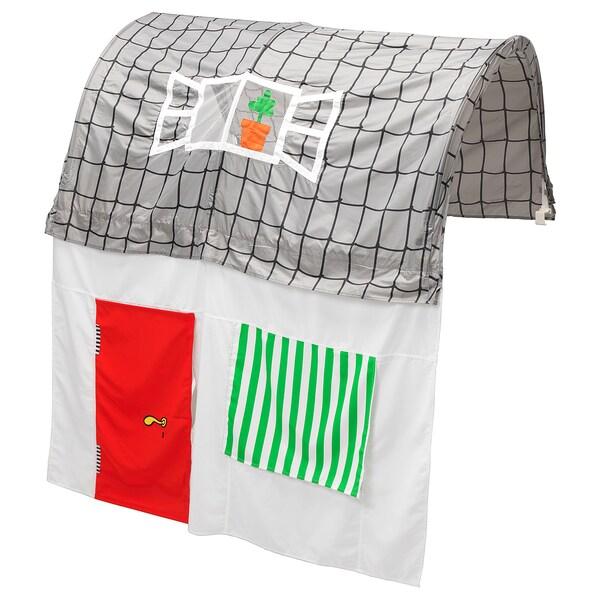 KURA Sengetelt med gardin, grå/hvid