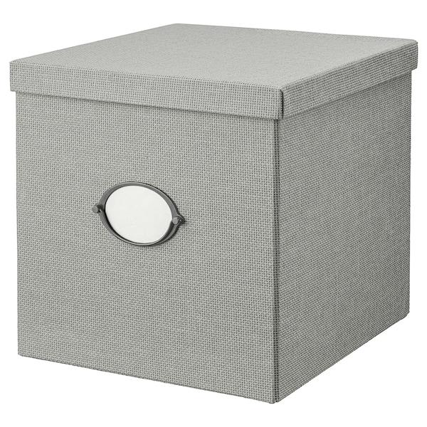 KVARNVIK Kasse med låg, grå, 32x35x32 cm