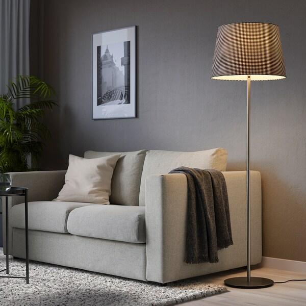 LÅGVIND Lampeskærm, rude sort/beige, 44 cm