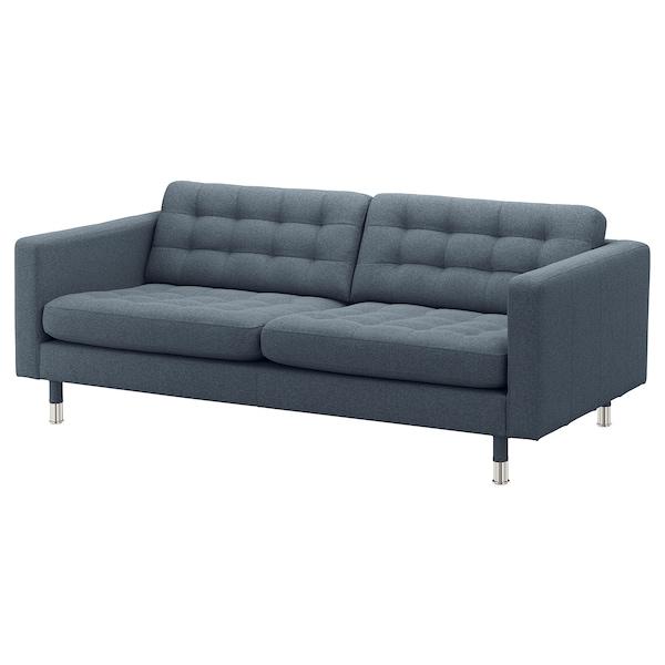 LANDSKRONA 3-pers. sofa, Gunnared blå/metal