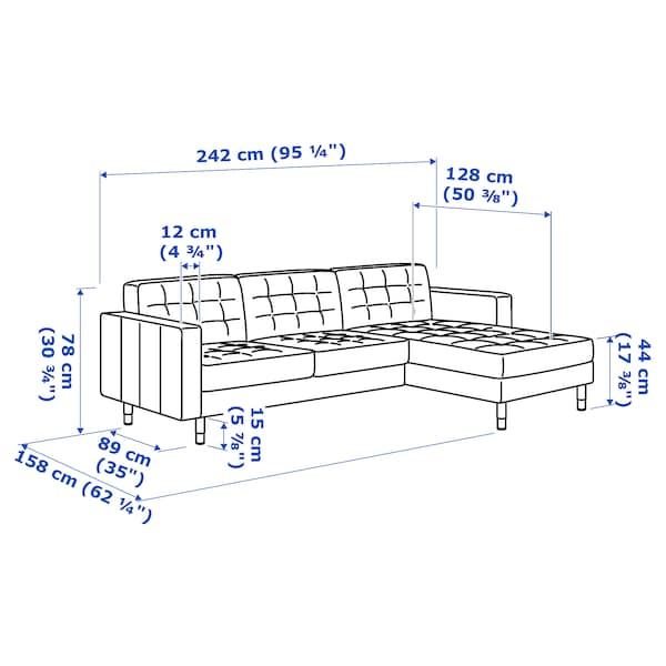 LANDSKRONA 3-pers. sofa, med chaiselong/Gunnared blå/træ