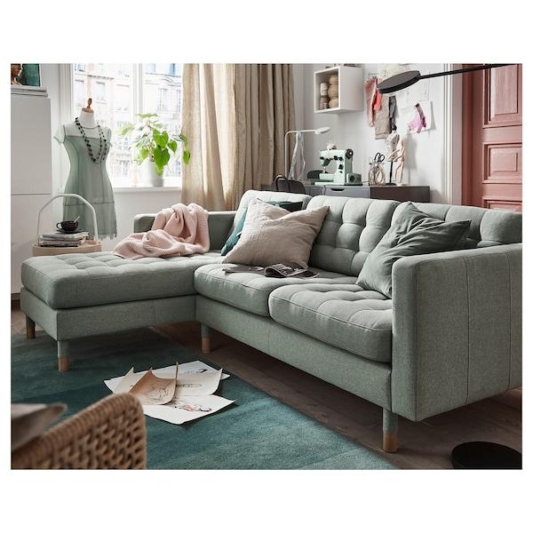 LANDSKRONA 3-pers. sofa, med chaiselong/Gunnared lysegrøn/træ