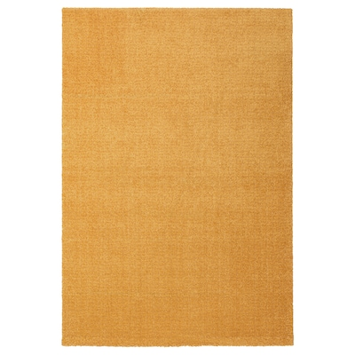 LANGSTED Tæppe, kort luv, gul, 133x195 cm