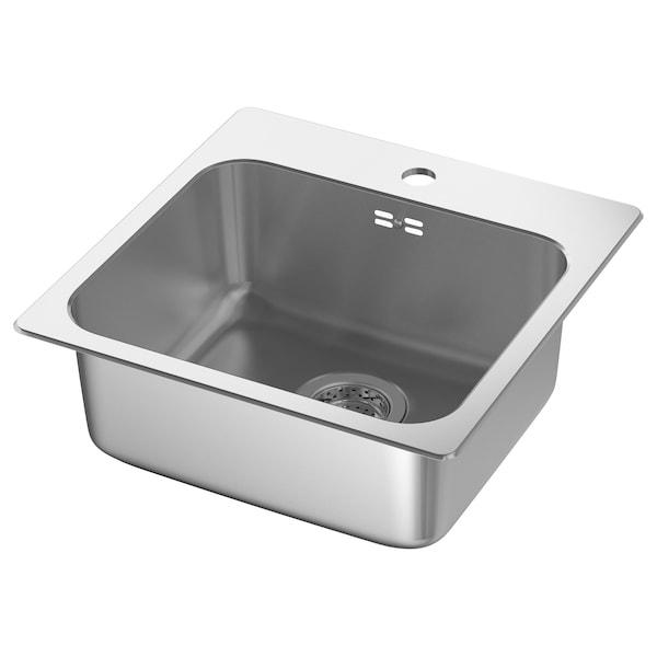 LÅNGUDDEN Indbygningsvask, enkelt, rustfrit stål til bordplade efter mål, kvarts, 46x46 cm