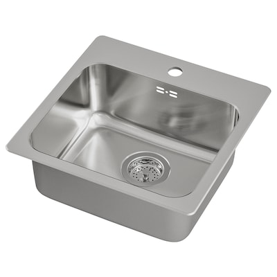 LÅNGUDDEN Indbygningsvask, enkelt, rustfrit stål, 46x46 cm