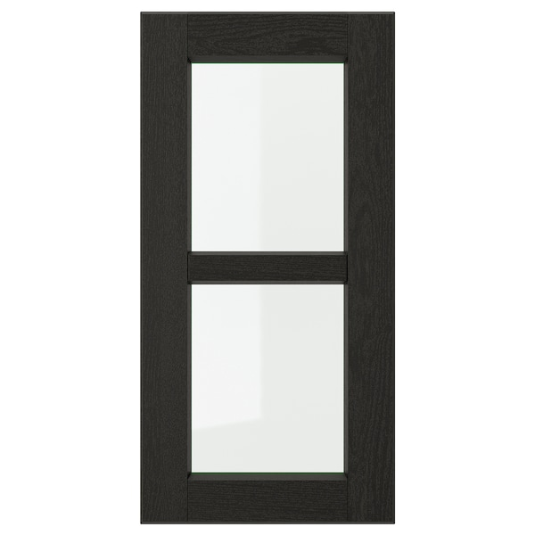 LERHYTTAN vitrinelåge sort bejdse 29.7 cm 60 cm 30 cm 59.7 cm 1.9 cm
