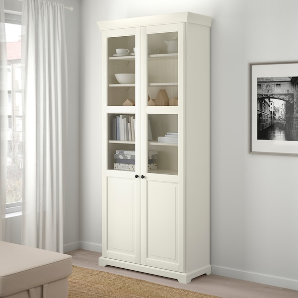 LIATORP Reol med vitrinelåger, hvid, 96x214 cm