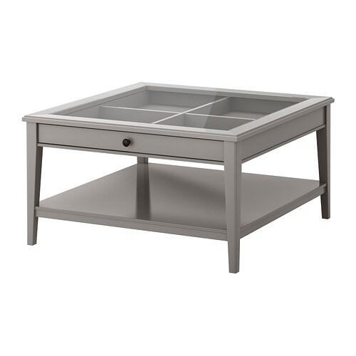 LIATORP Sofabord , grå, glas Længde: 93 cm Bredde: 93 cm Højde: 51 cm