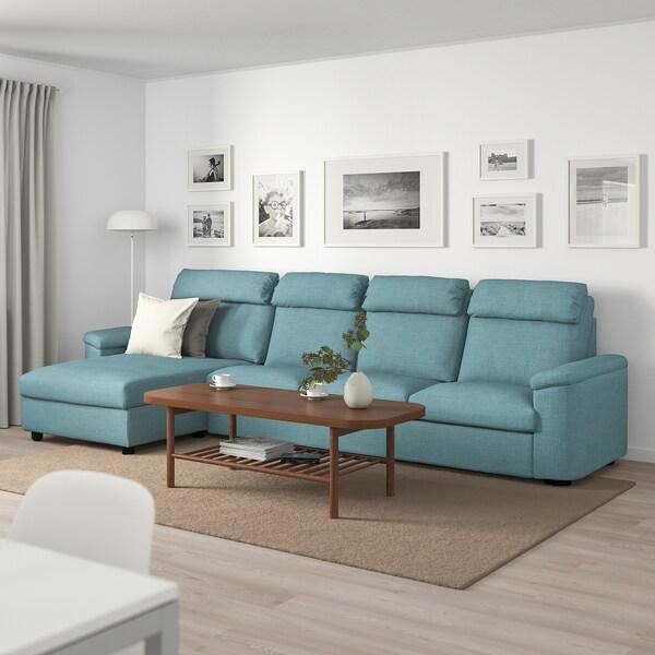 LIDHULT 4-pers. sofa, med chaiselong/Gassebol blå/grå