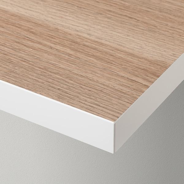 LINNMON Bordplade hvid/egetræsmønster med hvid bejdse 120 cm 60 cm 3.4 cm 50 kg