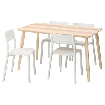 LISABO / JANINGE Bord og 4 stole, asketræsfiner/hvid, 140x78 cm