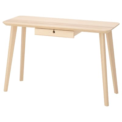 LISABO Skrivebord, asketræsfiner, 118x45 cm