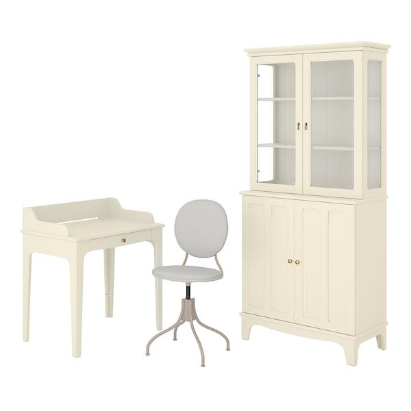 LOMMARP/BJÖRKBERGET Skrivebords- og opbevaringskombina, og drejestol beige
