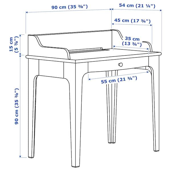 LOMMARP/BJÖRKBERGET Skrivebords- og opbevaringskombina, og drejestol blågrøn
