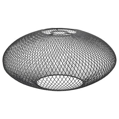 LUFTMASSA lampeskærm sort ovalt mønster 18 cm 37 cm