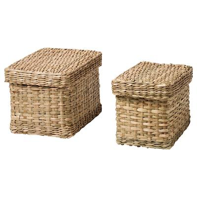 LURPASSA Kasser med låg, 2 stk., søgræs