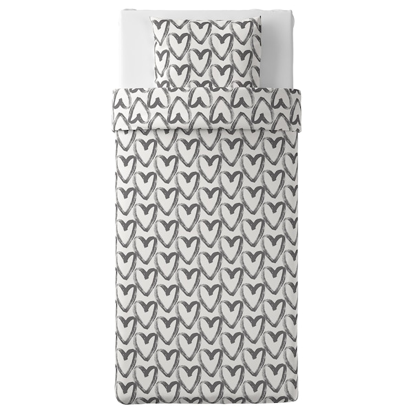 LYKTFIBBLA Dynebetræk og pudebetræk, hvid/grå, 140x200/60x70 cm