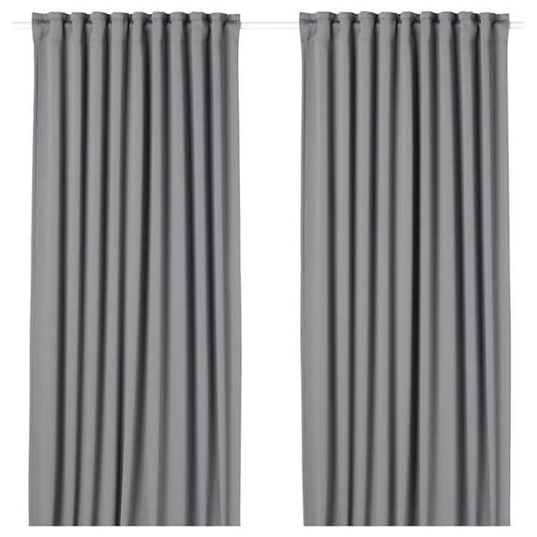MAJGULL mørklægningsgardiner, 2 stk. grå 300 cm 145 cm 2.50 kg 4.35 m² 2 stk
