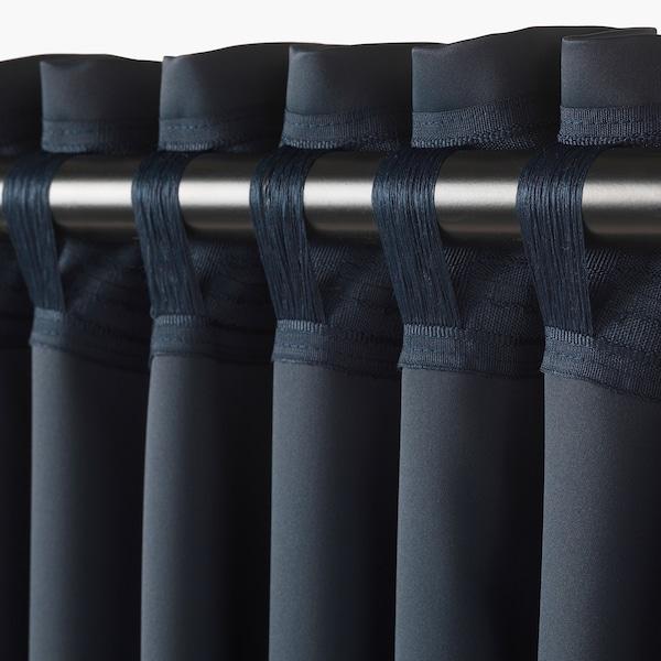 MAJGULL mørklægningsgardiner, 2 stk. mørkeblå 300 cm 145 cm 2.50 kg 4.35 m² 2 stk