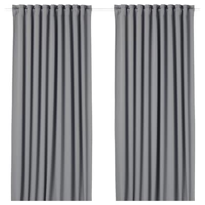MAJGULL Mørklægningsgardiner, 2 stk., grå, 145x250 cm