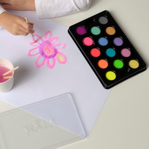 MÅLA Vandfarve, æske med 14 farver, forskellige farver