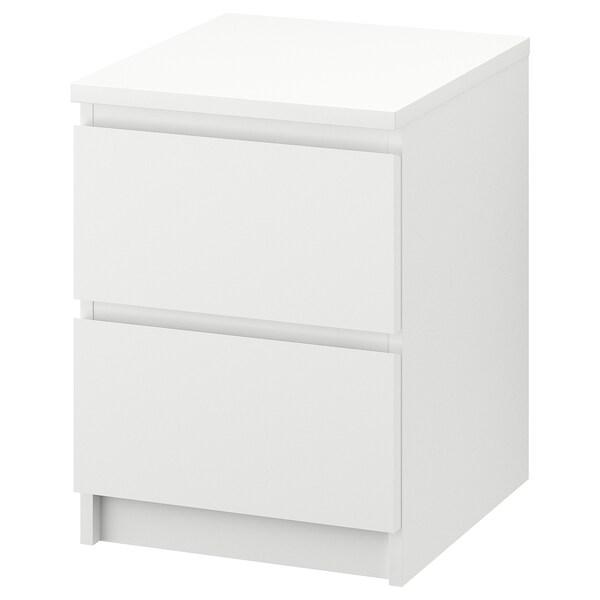 MALM Kommode 2 skuffer, hvid, 40x55 cm