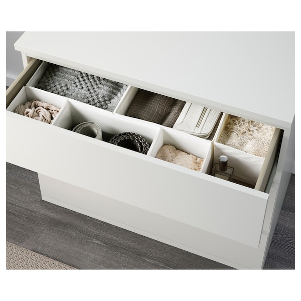MALM Kommode 3 skuffer, hvid, 80x78 cm