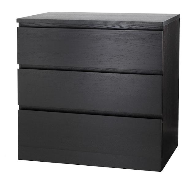 MALM Kommode 3 skuffer, sortbrun, 80x78 cm