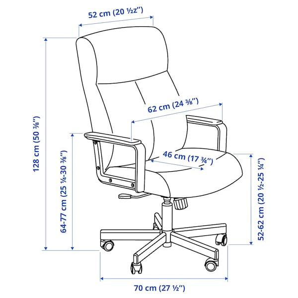 MALM/MILLBERGET / BILLY/OXBERG Skrivebords- og opbevaringskombina, og drejestol hvid/beige