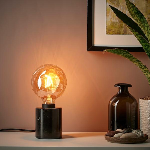 MARKFROST Bordlampe, marmor sort