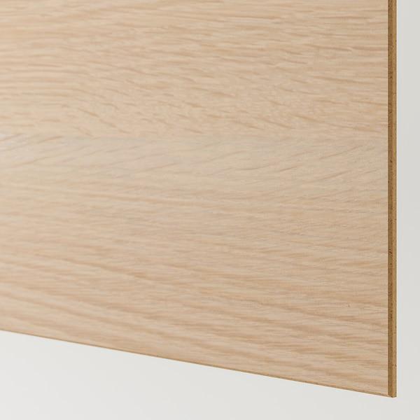 MEHAMN 4 paneler til stel til skydedør, egetræsmønster med hvid bejdse/hvid, 100x236 cm