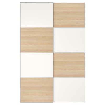 MEHAMN Skydedørspar, egetræsmønster med hvid bejdse/hvid, 150x236 cm