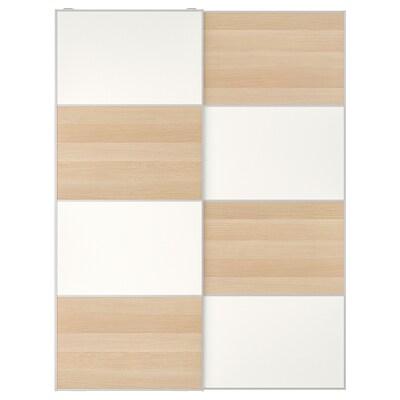 MEHAMN Skydedørspar, egetræsmønster med hvid bejdse/hvid, 150x201 cm