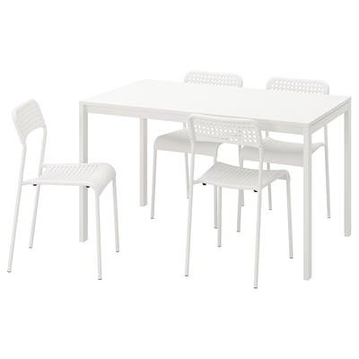 MELLTORP / ADDE Bord og 4 stole, hvid, 125 cm