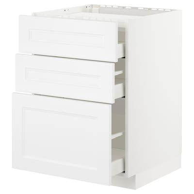 METOD usk kogpl/3 front/3 skuffer hvid/Axstad mat hvid 60.0 cm 61.8 cm 88.0 cm 60.0 cm 80.0 cm