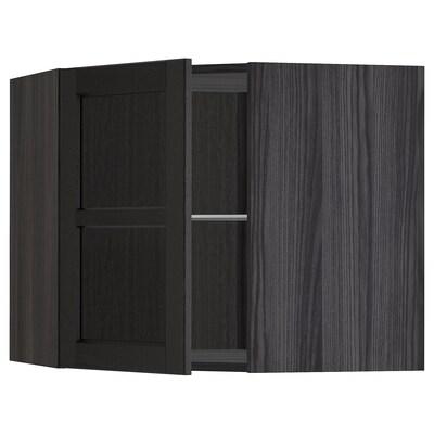 METOD hjørnevægskab med hylder/vitrilå sort/Lerhyttan sort bejdse 67.5 cm 67.5 cm 60.0 cm