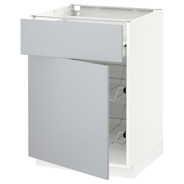 METOD / FÖRVARA underskab med trådkurv/skuffe/lå hvid/Veddinge grå 60.0 cm 61.6 cm 88.0 cm 60.0 cm 80.0 cm